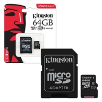 Kingston 64 GB Micro SDXC Class 10 UHS 1 High Speed Memory Card
