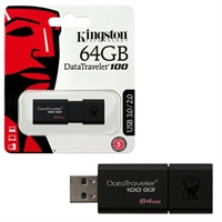 Kingston 64GB USB Flash Drive - Data Traveler USB 3.1 / 3.0 / 2.0