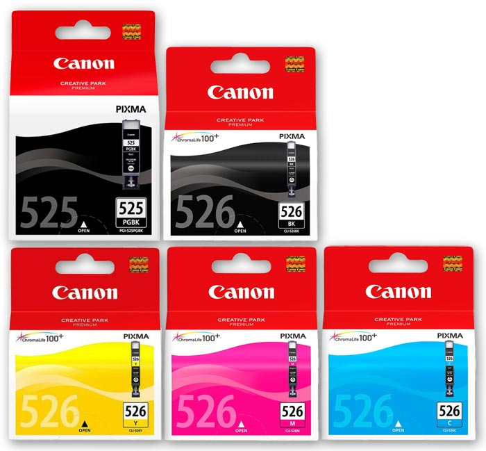 Canon 525 / 526 Original 5 Item Multipack Ink Cartridges - PGI-525BK / CLI526CMYK