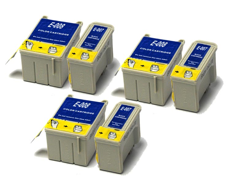 Epson Compatible Ink Cartridges - 6 item Multipack T007 / T008