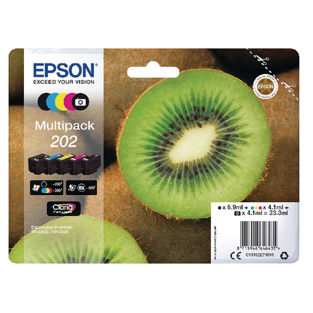 Full Set of Genuine Epson 202 Ink Cartridges Kiwi Inks