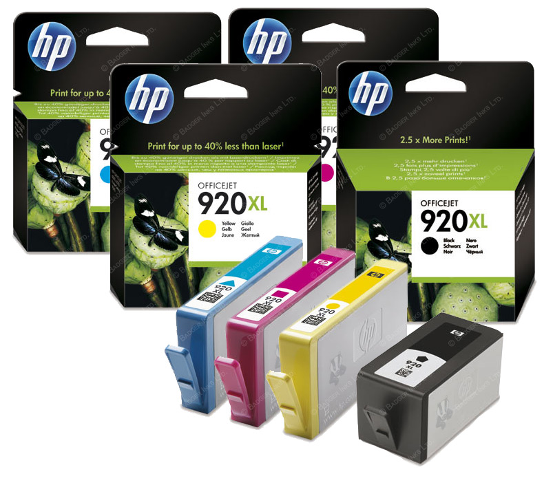 HP 920 4 Pk Black Cyan Magenta Yellow Original Printer Ink Cartridges HP920XL
